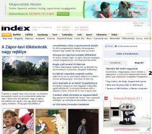 Az Index mai nyitólapja