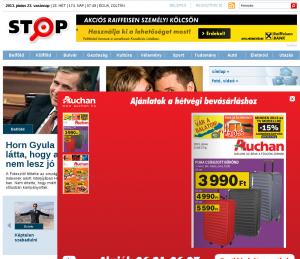 A stop.hu nyitólapja